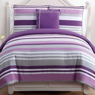 Ava Purple Stripe Reversible 4-piece Cotton Comforter Set