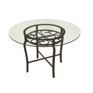 Somette Lizzy Brown Glass Traditional Dining Table