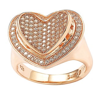 Suzy Levian Valentine's Day Loving Heart Cubic Zirconia Sterling Silver Ring