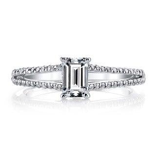 14k White Gold 1 1/4ct TDW Diamond Emerald-cut Split Shank Engagement Ring (H-I, VS1-VS2)