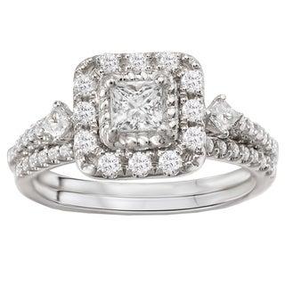 Avanti 14k White Gold 7/8ct TDW Princess Halo Diamond Bridal Ring Set (G-H, SI1-SI2)