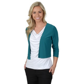Timeless Comfort by Journee Women's Solid Color Half-sleeve Shrug Sweater