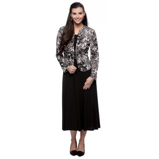 Jessica Howard Women's Black and Grey Sequined Jacket and Maxi Dress Set