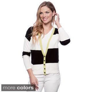 August Silk Women's Wide Stripe Colorblocked Cardigan
