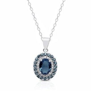 Dolce Giavonna Sterling SIlver London Blue Topaz Diamond Accent Oval Necklace