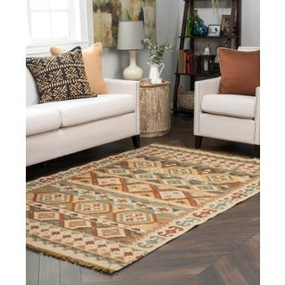 Lark Olive Green Tribal Pattern Indoor/ Outdoor Recycled Kilim (5' x 8')