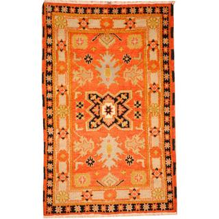 Herat Oriental Indo Hand-knotted Tribal Kazak Orange/ Blue Wool Rug (3'2 x 5')