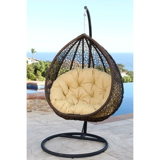 ABBYSON LIVING Newport Outdoor Brown/ Yellow Wicker Swing Chair