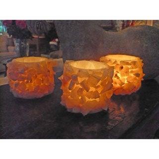 Set of 3 Small Sparkling Cylinder Candle Holder (Egypt)