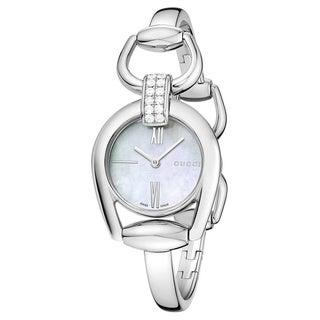 Gucci Women's YA139504 'Horsebit' Diamond-Accented Stainless Steel Bangle Watch