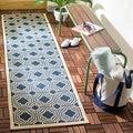 Safavieh Indoor/ Outdoor Moroccan Courtyard Navy/ Beige Rug (2'3 x 8')