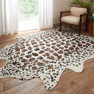 Rawhide Ivory/ Brown Rug (5' x 6'6)
