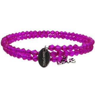 Pink Box Sassy Pink Wrap-around Bicone Bracelet with 'Love' Charm