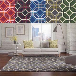Pantone Universe Matrix Flat-weave Geometric Grey Wool Rug (3'6 X 5'6)