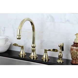 Modern Widespread Polished Brass Kitchen Faucet with Side Sprayer