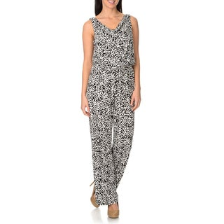 London Times Women's Printed Cowl Neck Popover Jumpsuit