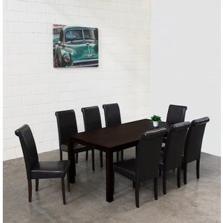 Warehouse of Tiffany Jewel Black Leatherette 9-piece Dining Set