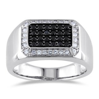 Miadora Sterling Silver Men's Black Spinel White Sapphire Ring