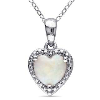 Miadora Sterling Silver Opal Heart Necklace
