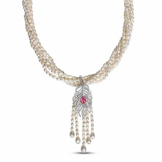 Miadora Silver Cultured Freshwater White Pearl and Cubic Zirconia 6-Strand Necklace (4-7 mm)