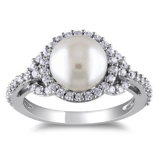 Miadora Sterling Silver Freshwater Pearl Cubic Zirconia Ring (8-9 mm)
