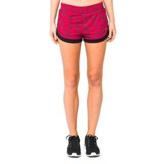 Lija Women's 'Run Lightly' Crimson and Black Shorts
