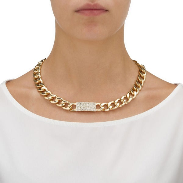 PalmBeach 3 Piece Curb-Link Crystal I.D. Necklace, Bracelet And Drop Earrings Set in Yellow Gold Tone Bold Fashion