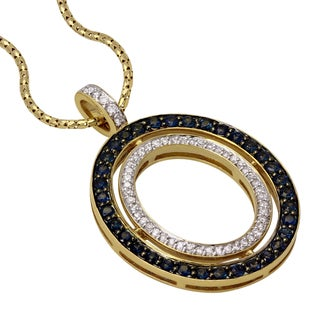 Beverly Hills Charms 14k Yellow Gold 1/4ct TDW Diamond and Blue Sapphire Necklace (H-I, SI1-SI2)