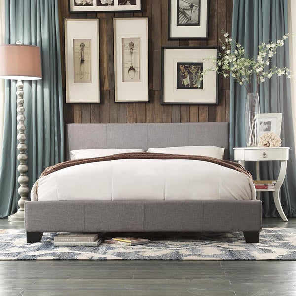 Hadwen Brown Fabric Upholstery Full Queen Size Platform Bed