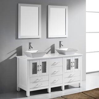 Virtu Bradford 60-inch White Double Bathroom Vanity Set