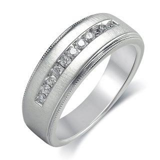 Bridal Symphony Sterling Silver Men's 1/4ct TDW Diamond Ring (I-J, I2-I3)