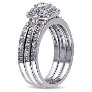 Miadora Sterling Silver 1/2ct TDW Diamond Bridal Ring 3-piece Set (G-H, I2-I3)