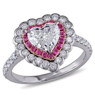 Miadora 14k White Gold Pink Sapphire and 1 1/2ct TDW Diamond Heart Ring (G-H, I1-I2)