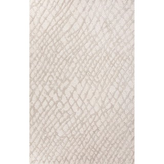 Indo Hand-tufted Grey/ White Oriental Wool and Art Silk Rug (8' x 10')