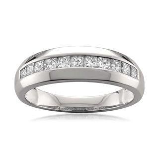 14k White Gold Men's 1ct TDW Princess-cut Diamond Wedding Band (G-H, SI1-SI2)