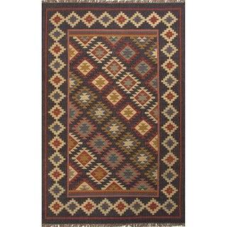 Flat Weave Tribal Pattern Black/ Multi Jute Area Rug (8' x 10')