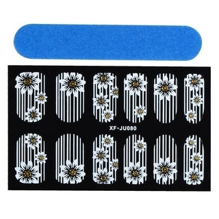 Zodaca Flower and Line Nail Art Design Idea Stickers Lace Design 3.9x2.4-inch
