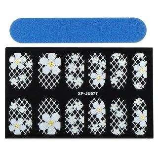 Zodaca White Flower Nail Art Design Idea Stickers Lace Design 3.9x2.4-inch