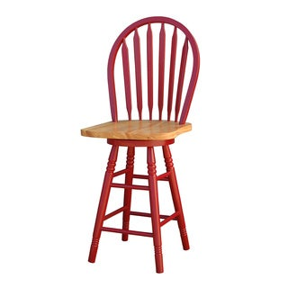 Simple Living Wood Red Arrowback Swivel Counter Stool