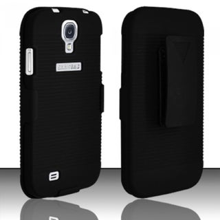 INSTEN Hard Plastic Rubberized Matte Phone Case Cover with Holster For Samsung Galaxy S4 LTE version/ S4 GT-i9500