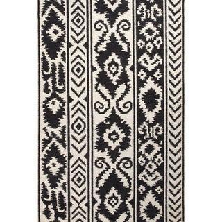 Flat Weave Tribal Pattern White/ Black Wool Area Rug (3'6 x 5'6)