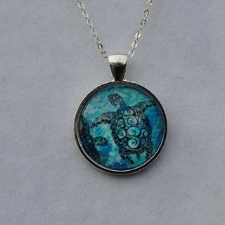 Atkinson Creations Sea Turtle Glass Dome Pendant Necklace