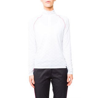 Lija Women's White Jacquard Long Sleeve Polo