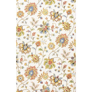 Hand Tufted Floral Pattern White/ Multi Wool Area Rug (2' x 3')