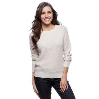 Ply Cashmere Women's Snowflake White Crew-neck Sweater