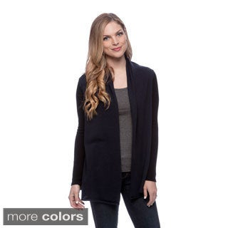 Ply Cashmere Women's Two-tone Open Cardigan