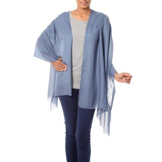 Handcrafted Wool 'Blue Grey Allure' Shawl (India)