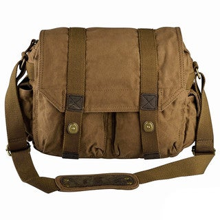 Zodaca Men Canvas Vintage Leather Shoulder Messenger Bag with Button Lock