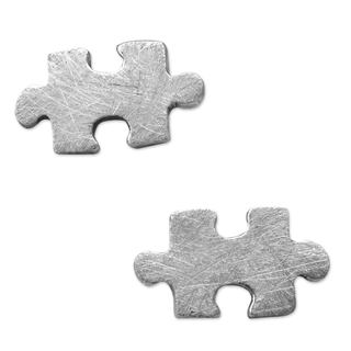 Handcrafted Silver 'Puzzle' Earrings (Mexico)