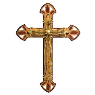 Handcrafted Iron 'Vintage Cross' Wall Sculpture (Mexico)